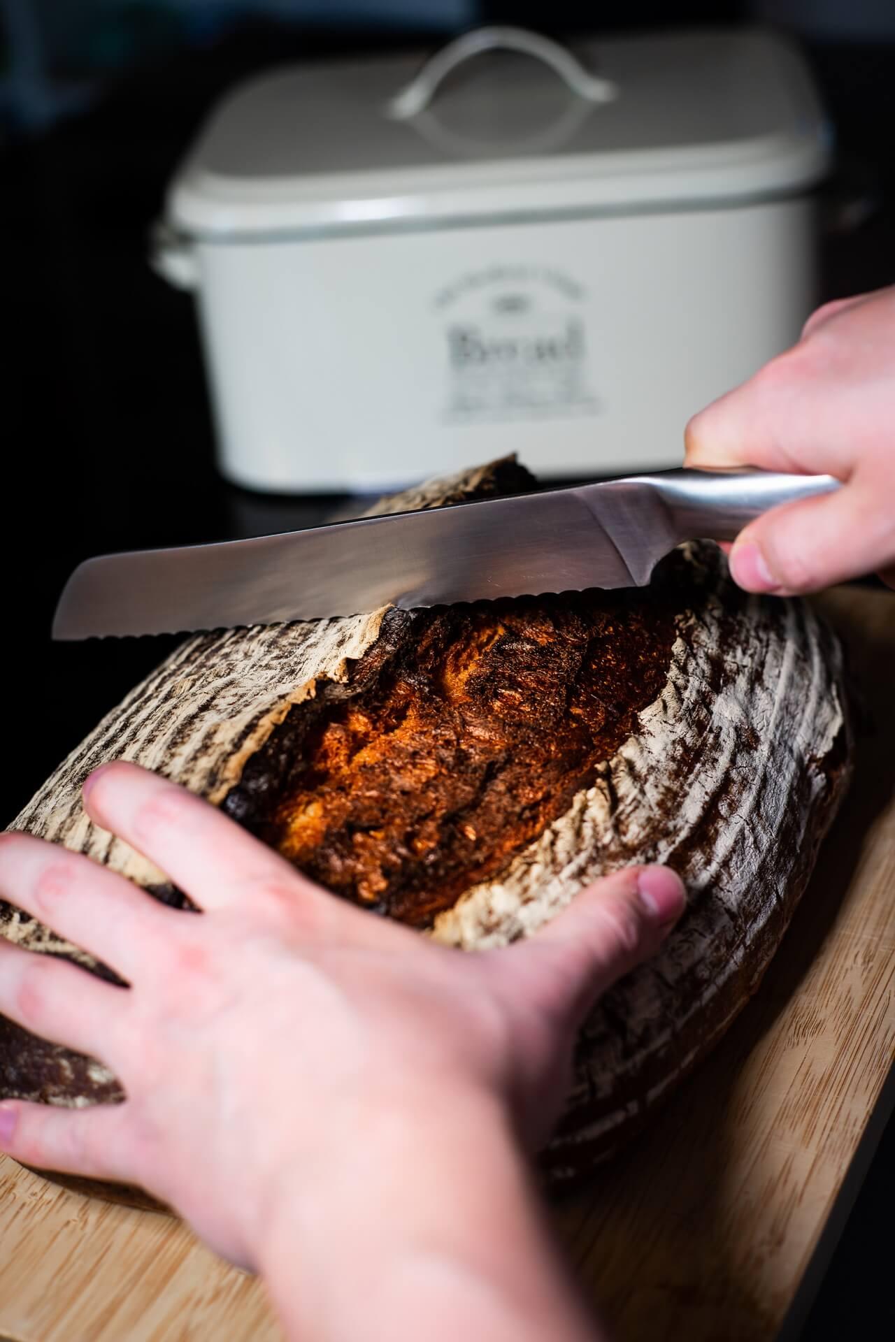 No Knead Dark Farmhouse Bread aka The Mountain Cutting