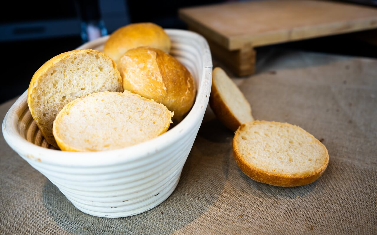 Sunday Morning Breakfast Rolls In Basket Sliced