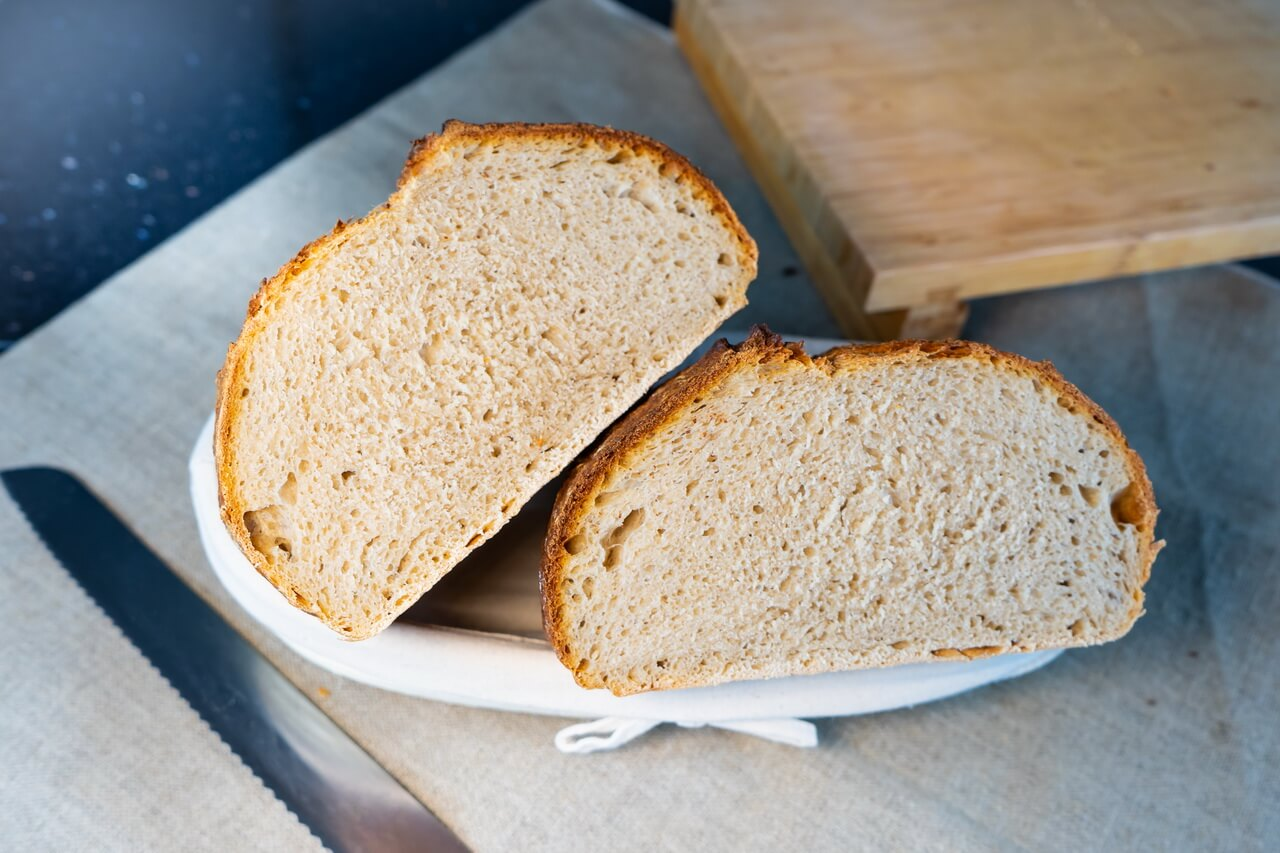 Sourdough Bread With Rye And All purpose Flour Crumb
