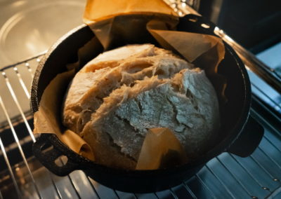 Sourdough Bread Baked In A Dutch Oven After Taking The Lid Off