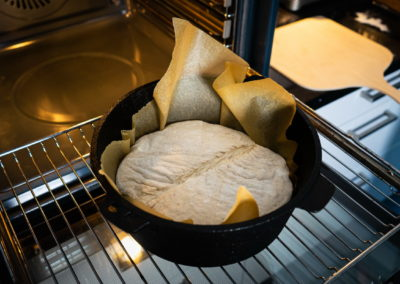 Sourdough Bread Baked In A Dutch Oven Before Baking