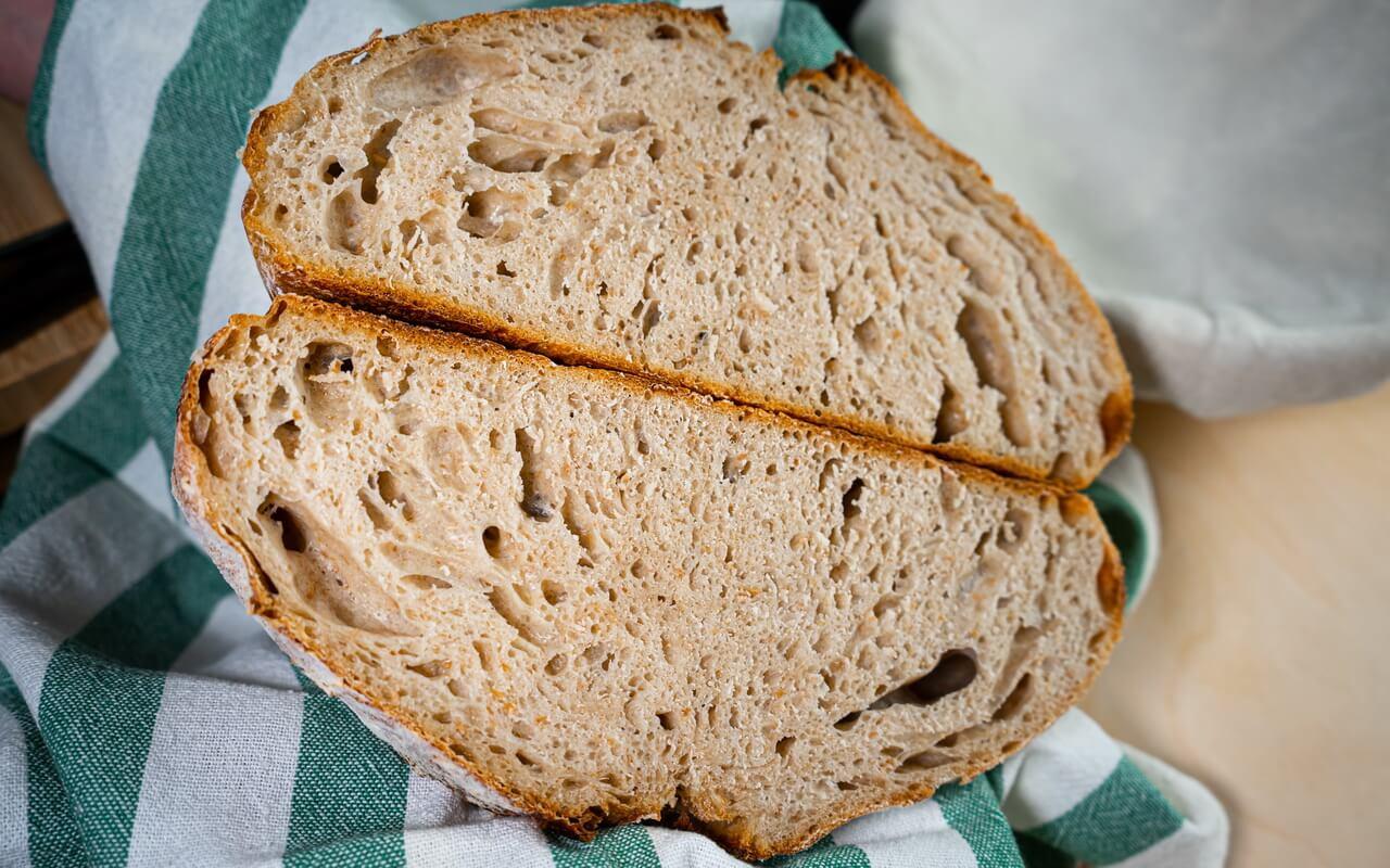 Sourdough Bread Baked In A Dutch Oven Crumb