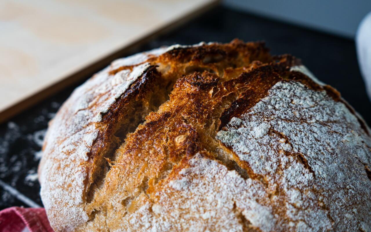 Sourdough Bread Baked In A Dutch Oven Crust