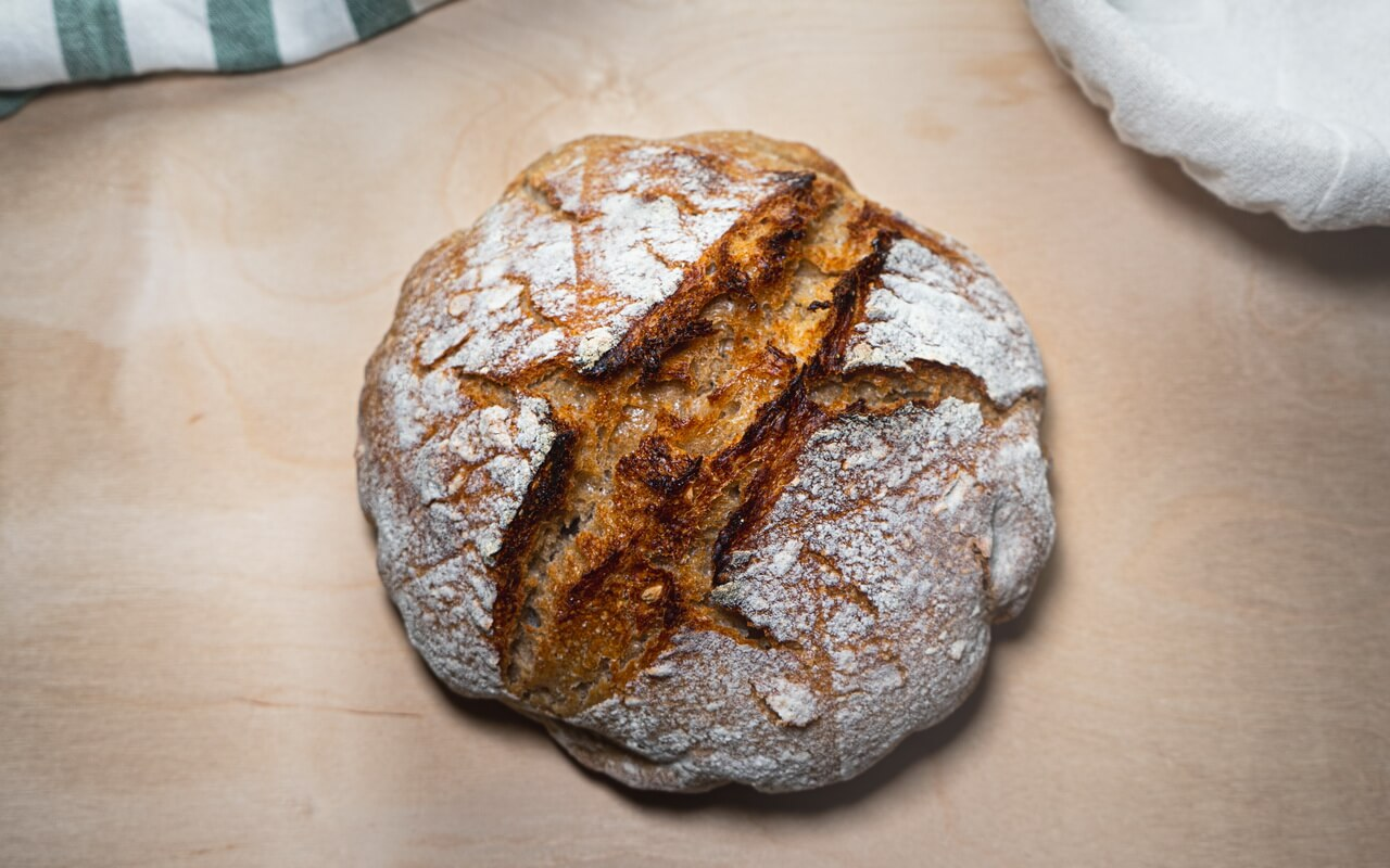 Sourdough Bread Baked In A Dutch Oven Top View