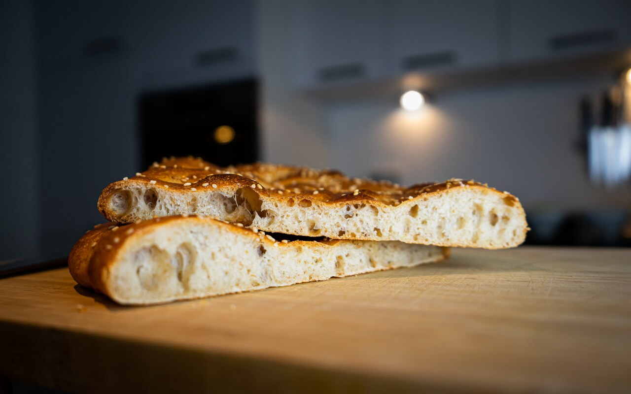 Traditional Turkish Flatbreads Side View