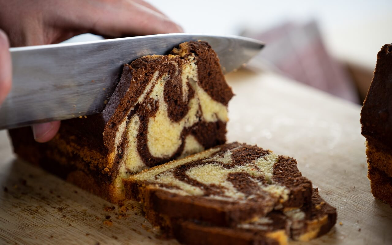 Extra Moist Marble Cake Cutting In