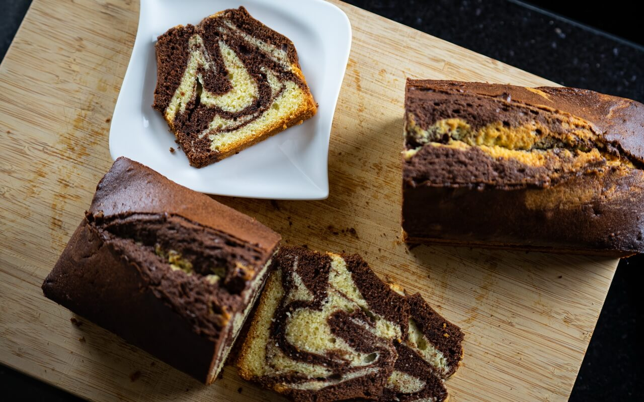 Extra Moist Marble Cake Slices