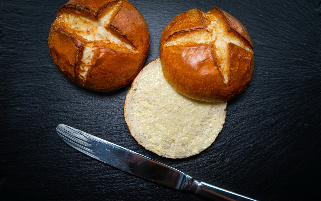 Pretzel Rolls With Butter