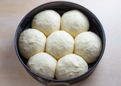 Soft And Fluffy Milk Bread Rolls After Proofing
