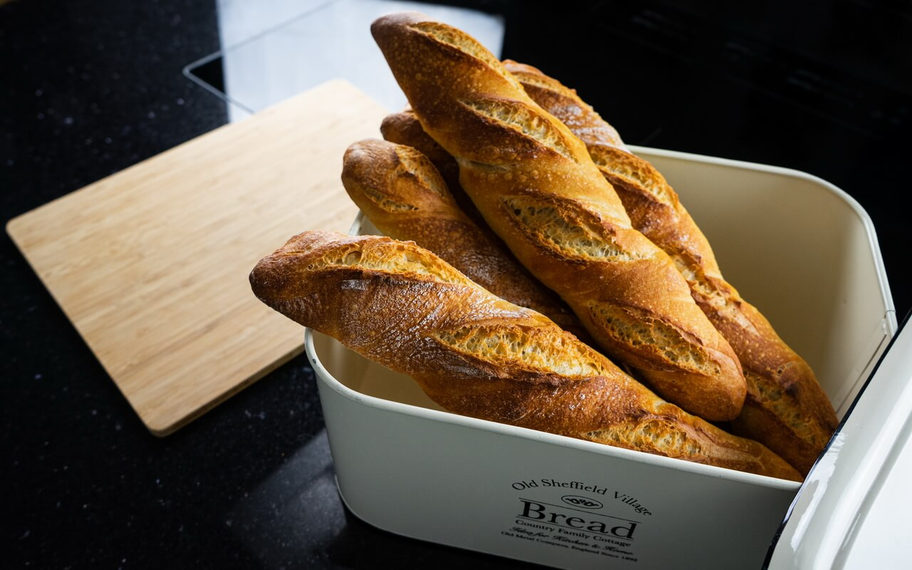 Twisted Baguettes Side View In Bread Basket