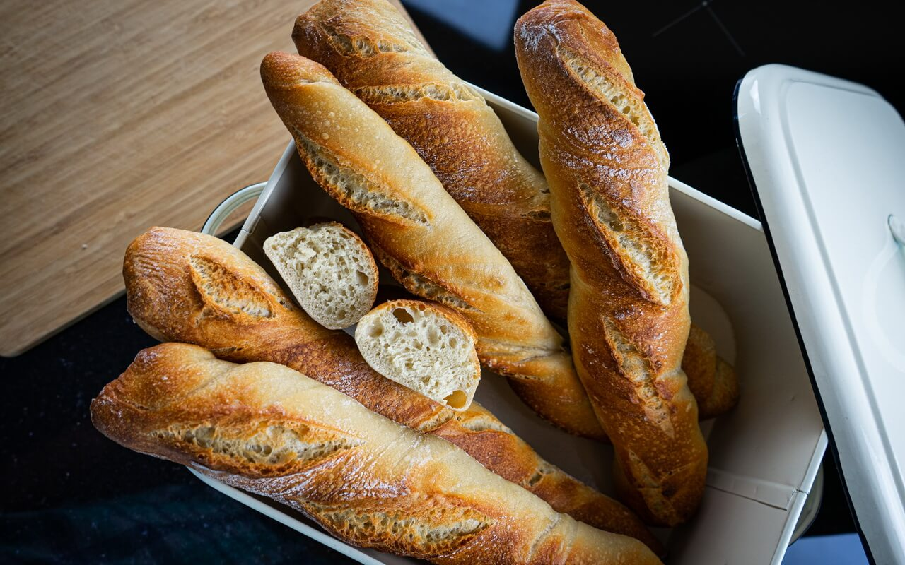 Twisted Baguettes Top View In Bread Basket