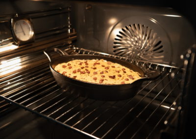 Soft Baked Chocolate Chip Skillet Cookie Before Baking In Oven
