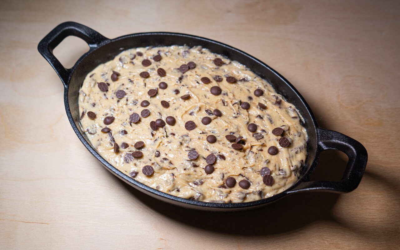 Soft Baked Chocolate Chip Skillet Cookie Before Baking