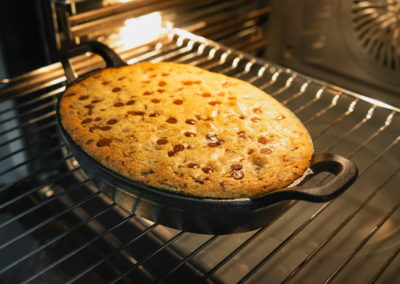 Soft Baked Chocolate Chip Skillet Cookie Directly After Baking