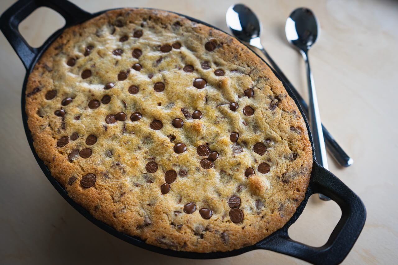 Soft Baked Chocolate Chip Skillet Cookie Without Ice Cream
