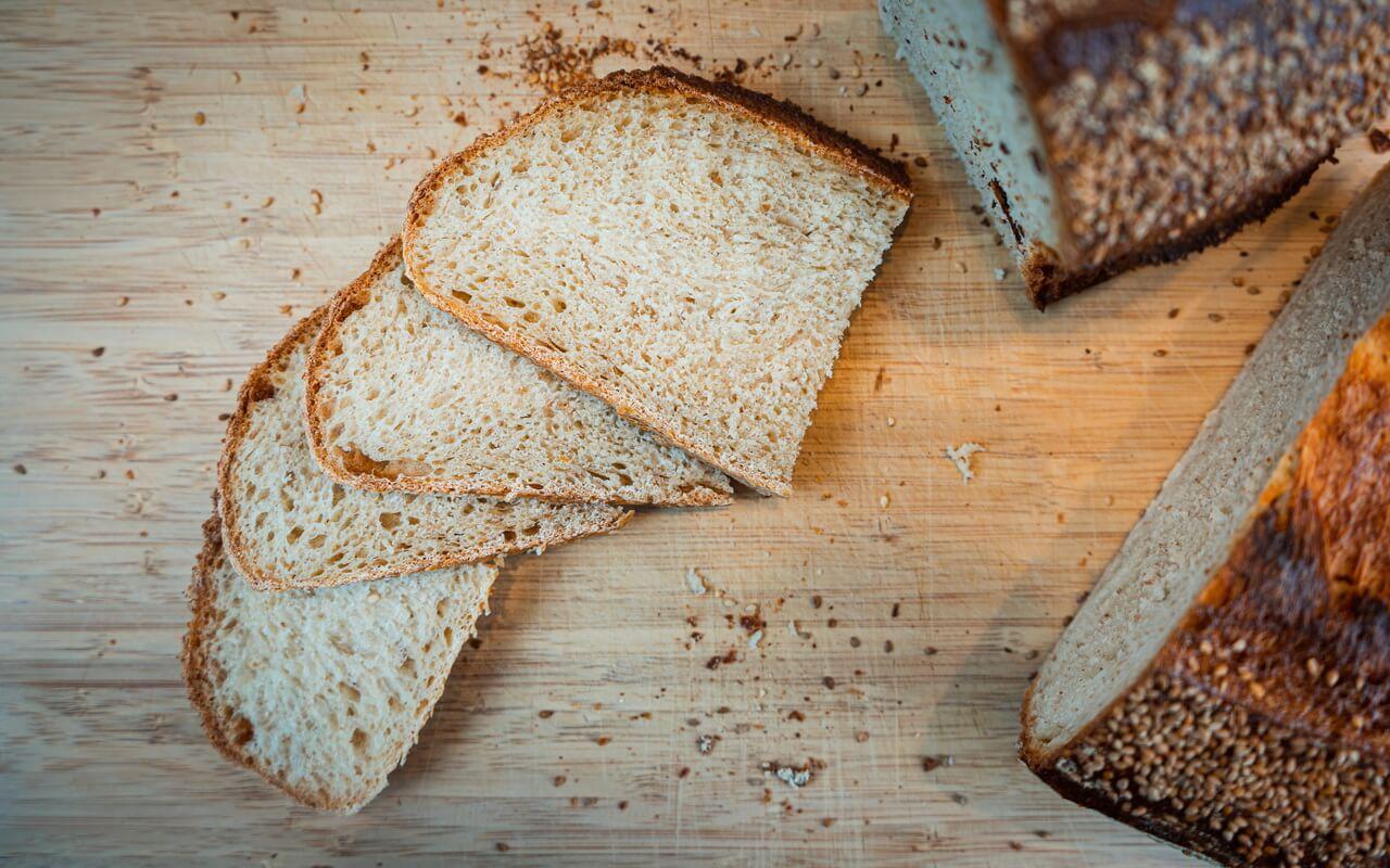 Sourdough Loaf With Sesame Seeds Slices