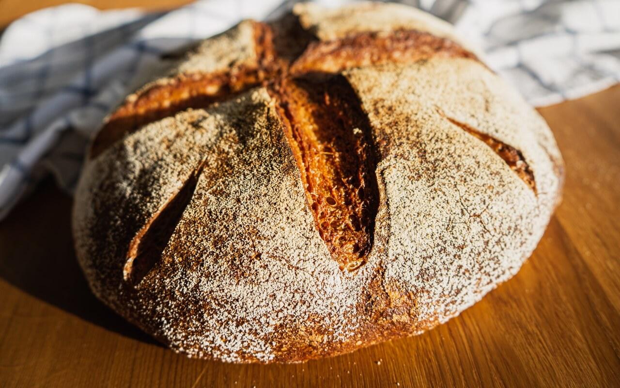Sunny Spelt Sourdough Bread Crust