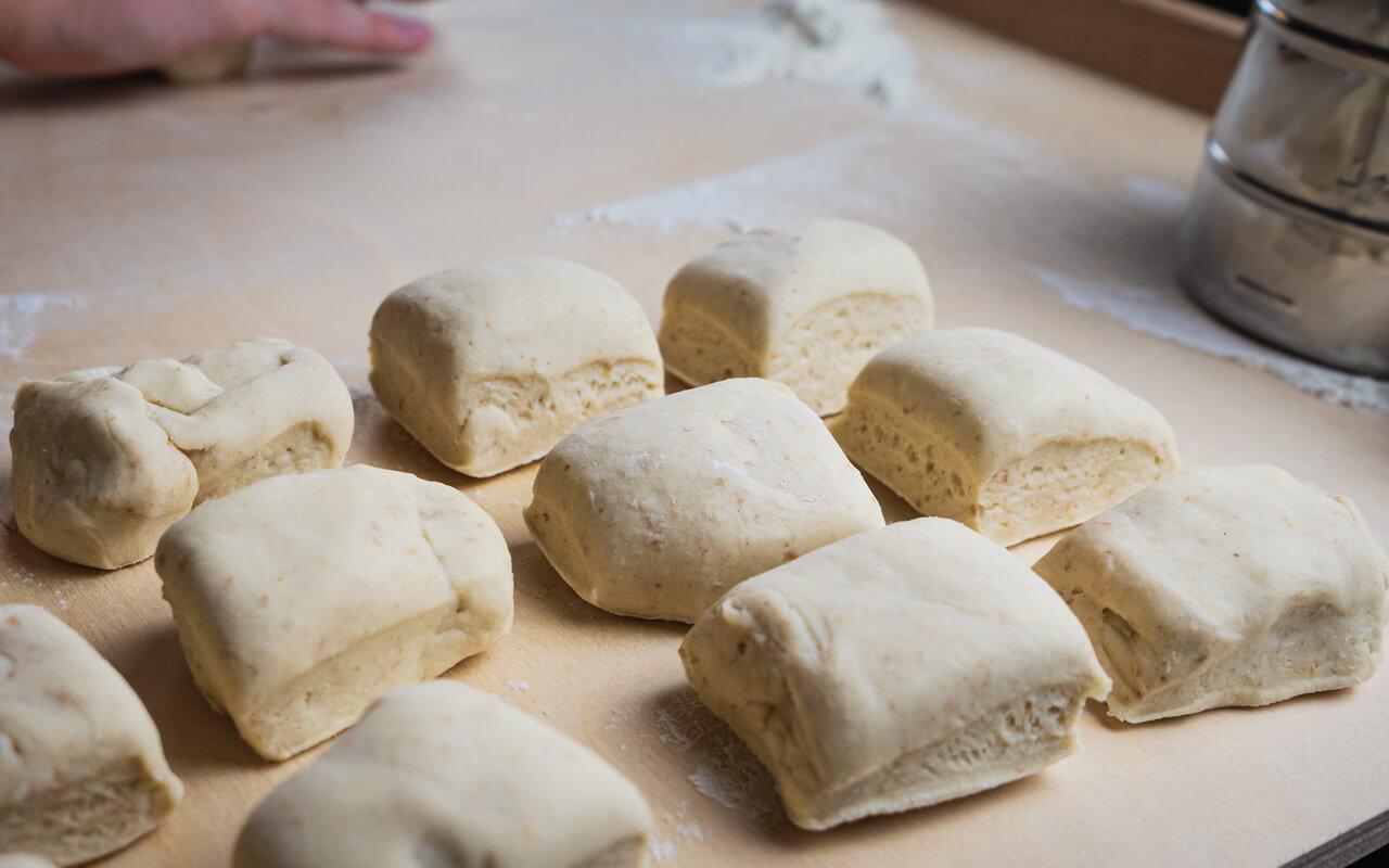 Twin Milk Bread Rolls Cut Dough Pieces