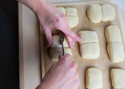 Twin Milk Bread Rolls Scoring