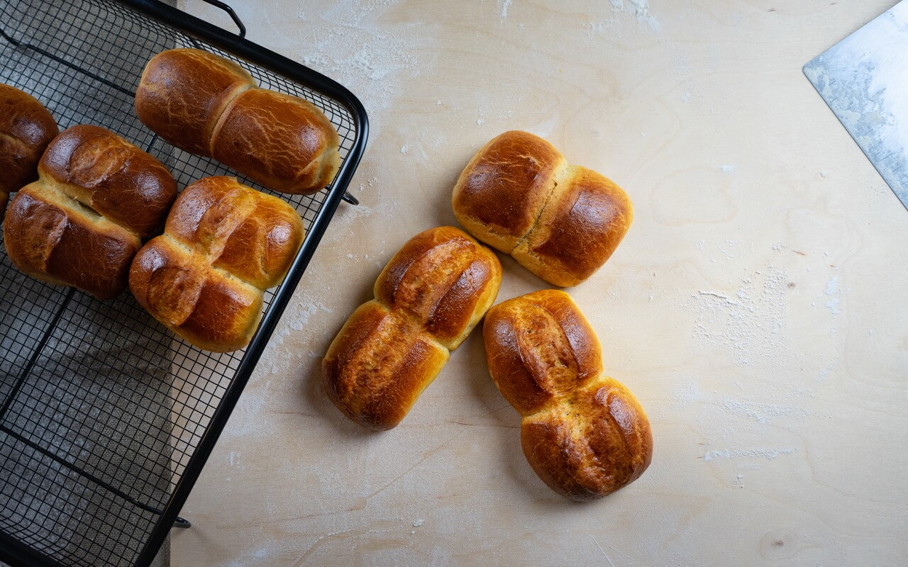 Twin Milk Bread Rolls Top View