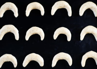 Vanillekipferl Traditional Crescent shaped Vanilla Biscuits Before Baking