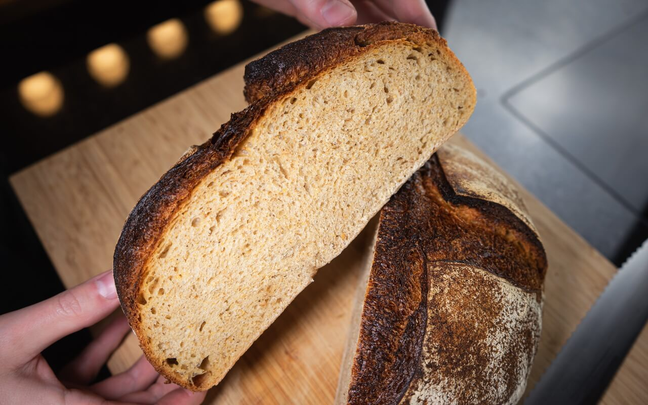 Popcorn Sourdough Bread Crumb