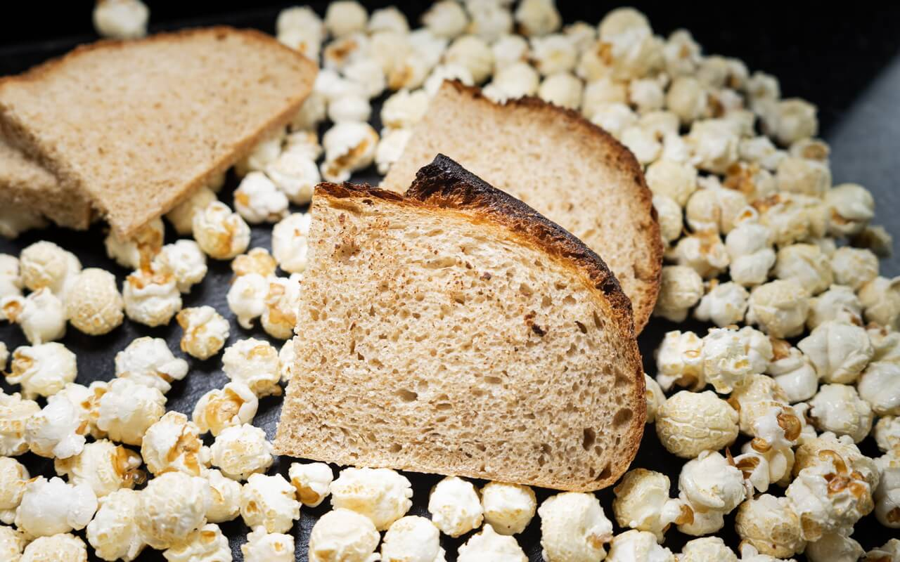 Popcorn Sourdough Bread Slices