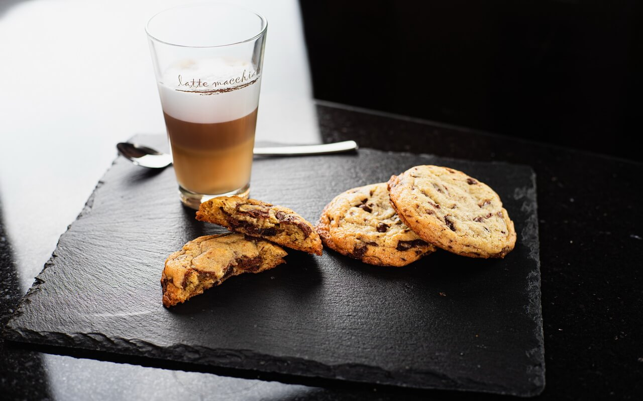 Chocolate Chip Crush Cookies From Levain Bakery With Latte Macchiato