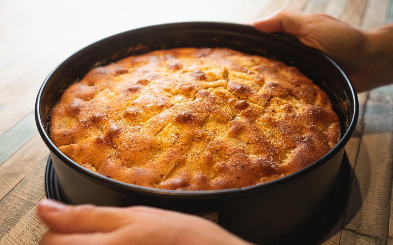 Grandmas Moist Cinnamon Apple Cake After Baking