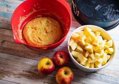 Grandmas Moist Cinnamon Apple Cake Prepared Dough And Aplles