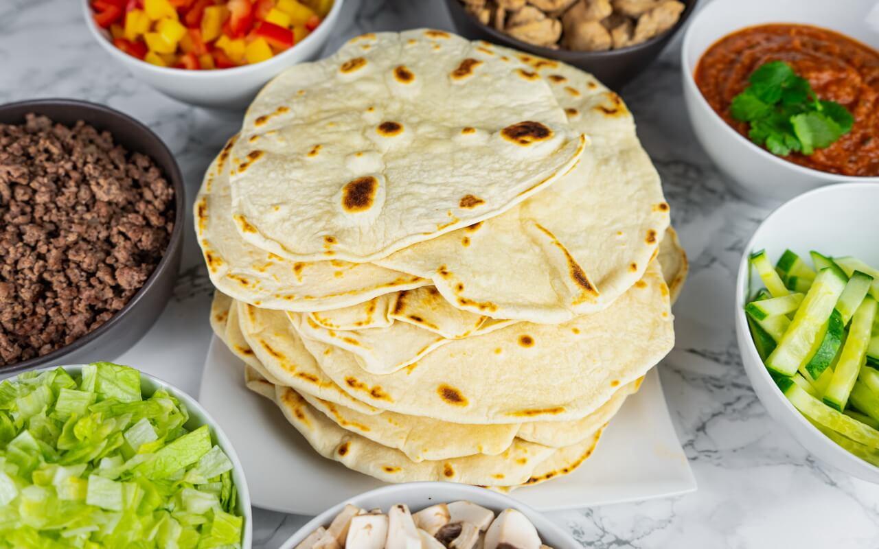 Wheat Tortillas For Fajitas With Fajita Ingredients