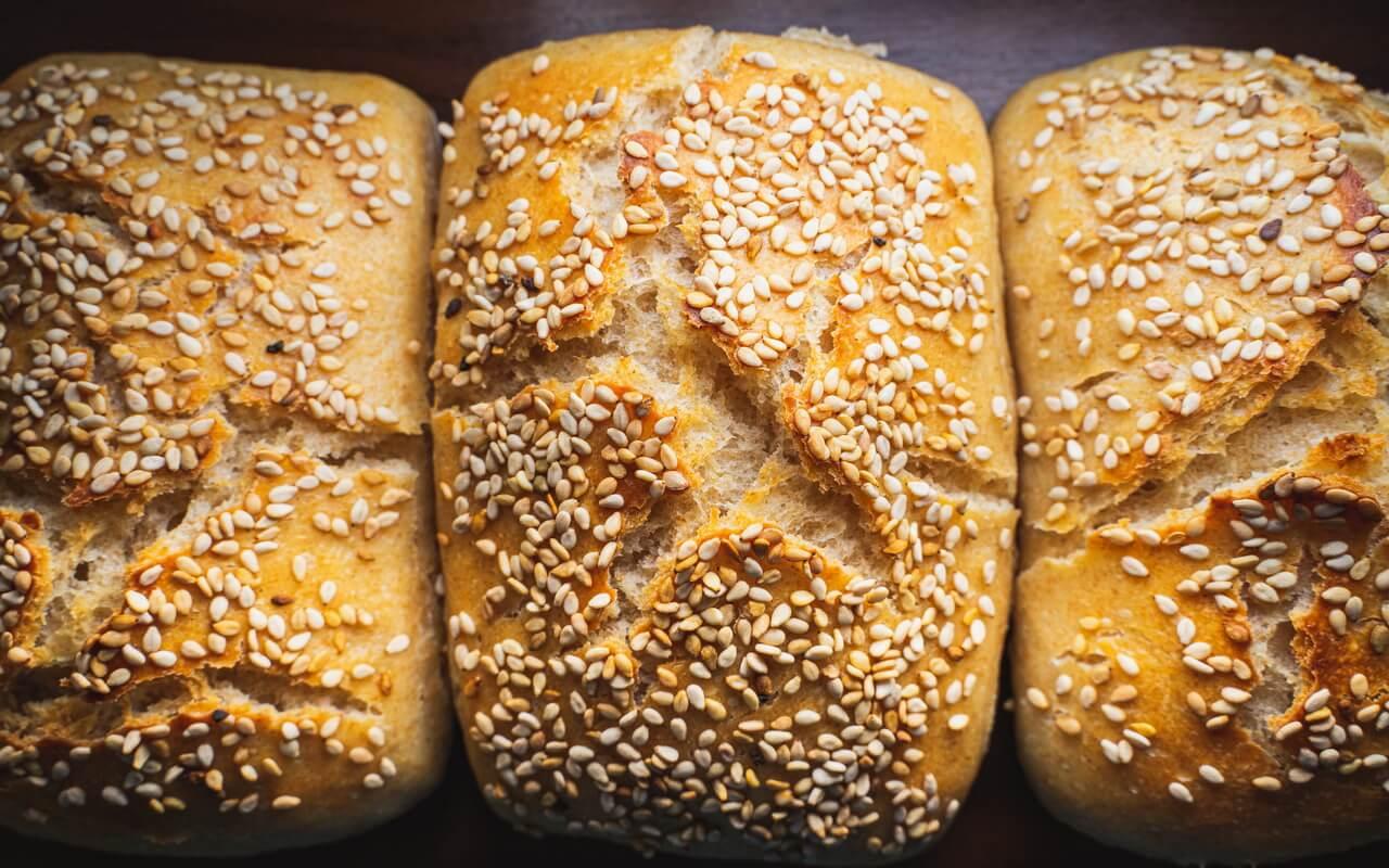 Sesame Bread Rolls With Yoghurt Crust
