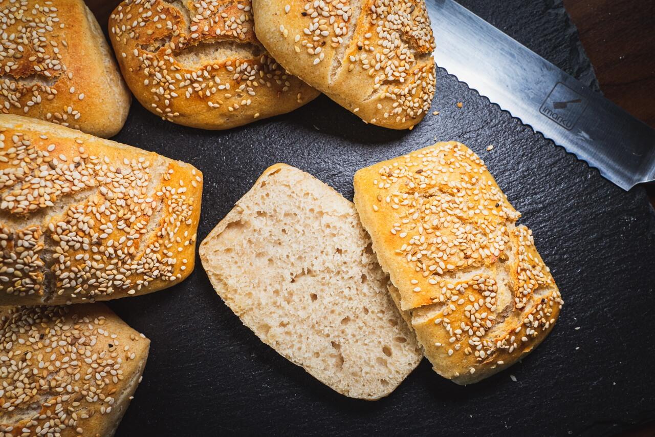 Sesame Bread Rolls With Yoghurt Cut Open Bread Roll