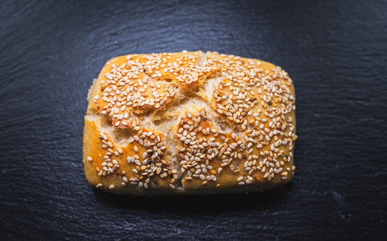 Sesame Bread Rolls With Yoghurt Single Bread Roll
