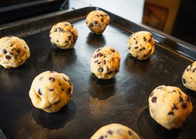 Chewy Chocolate Chip Cookies Shaped Dough Balls
