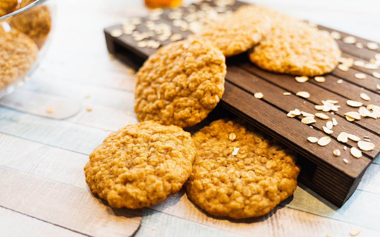 Soft And Chewy Oatmeal Cookies On A Board
