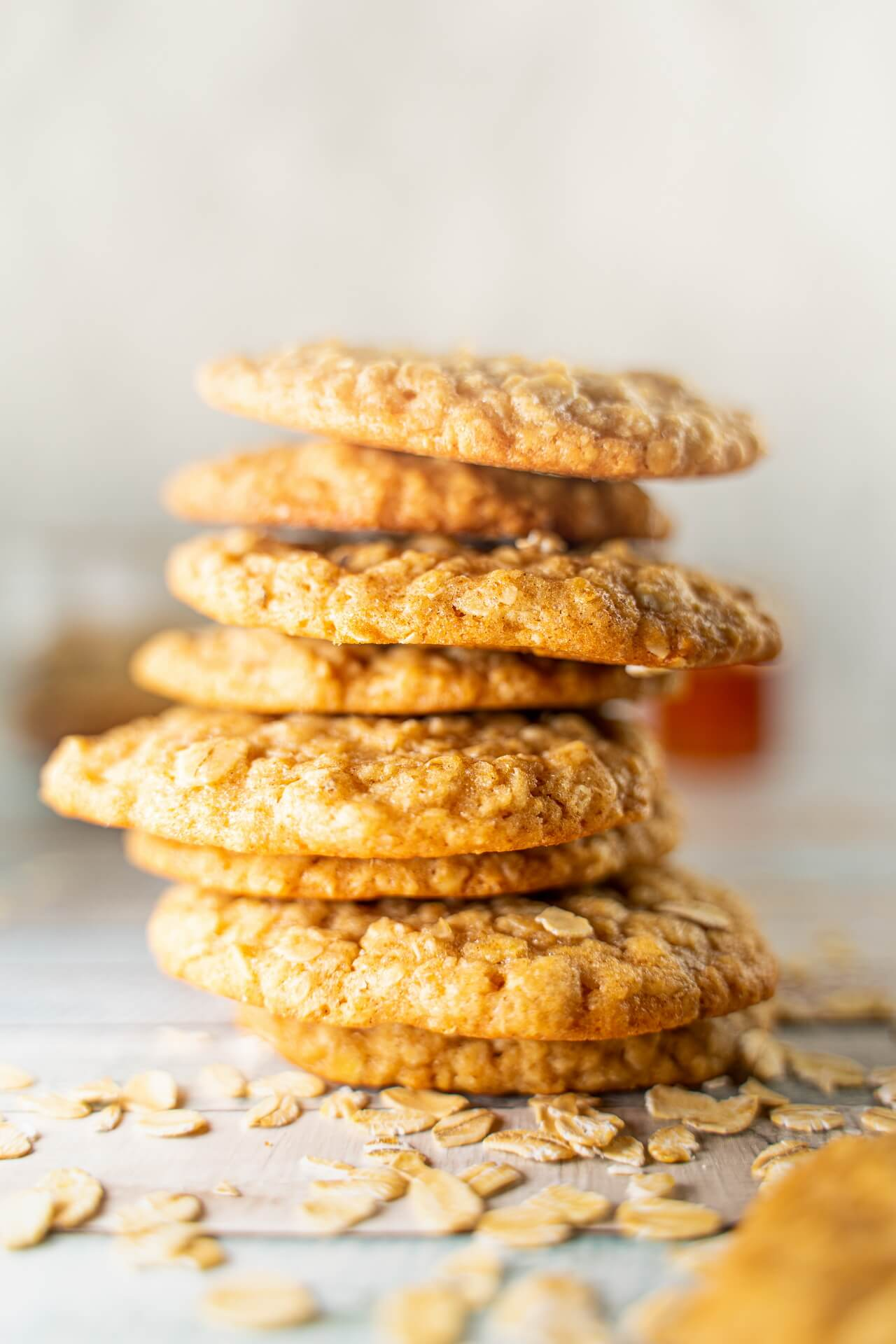 Soft And Chewy Oatmeal Cookies Stacked Close up