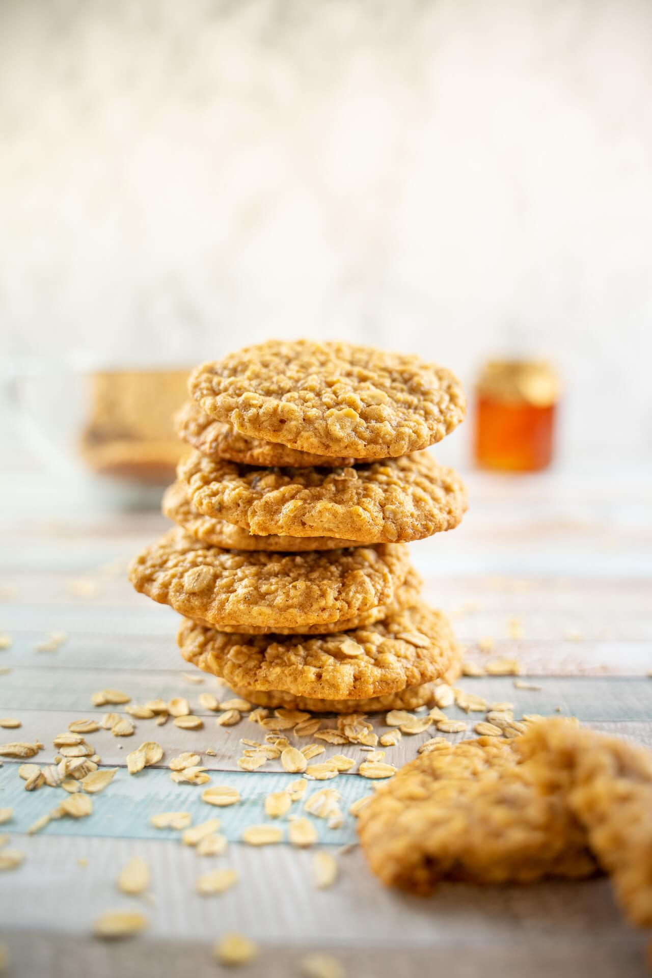 Soft And Chewy Oatmeal Cookies Stacked