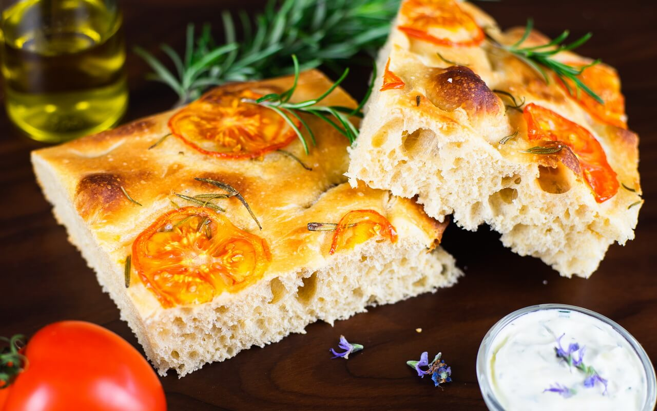 Sourdough Focaccia With Rosemary And Tomatoes Crumb