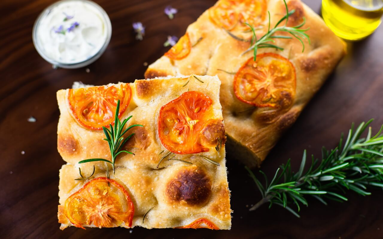 Sourdough Focaccia With Rosemary And Tomatoes Crust