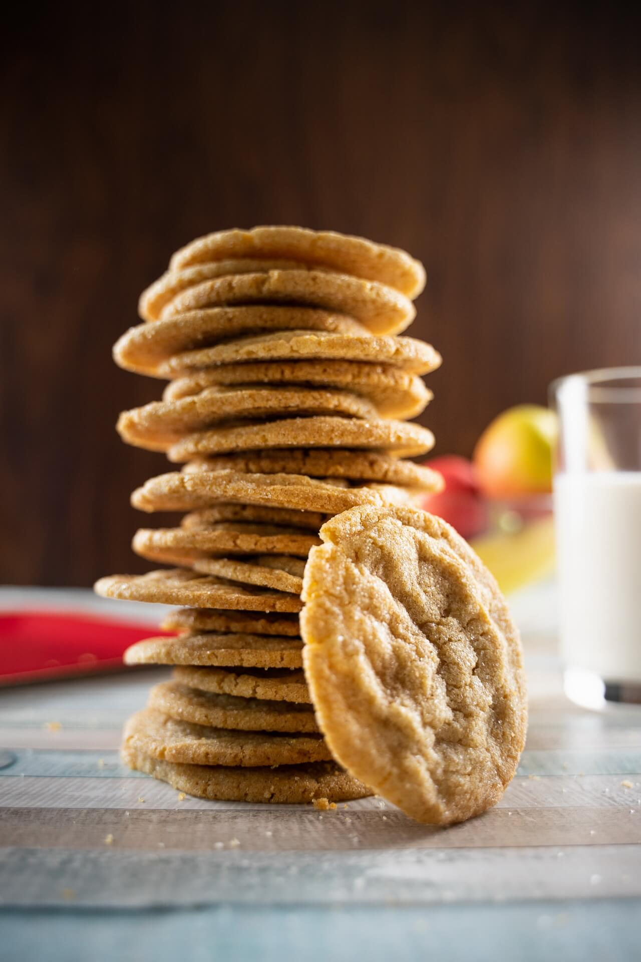 Chewy Brown Sugar Cookies With Cinnamon Tower With Single Cookie Vertical