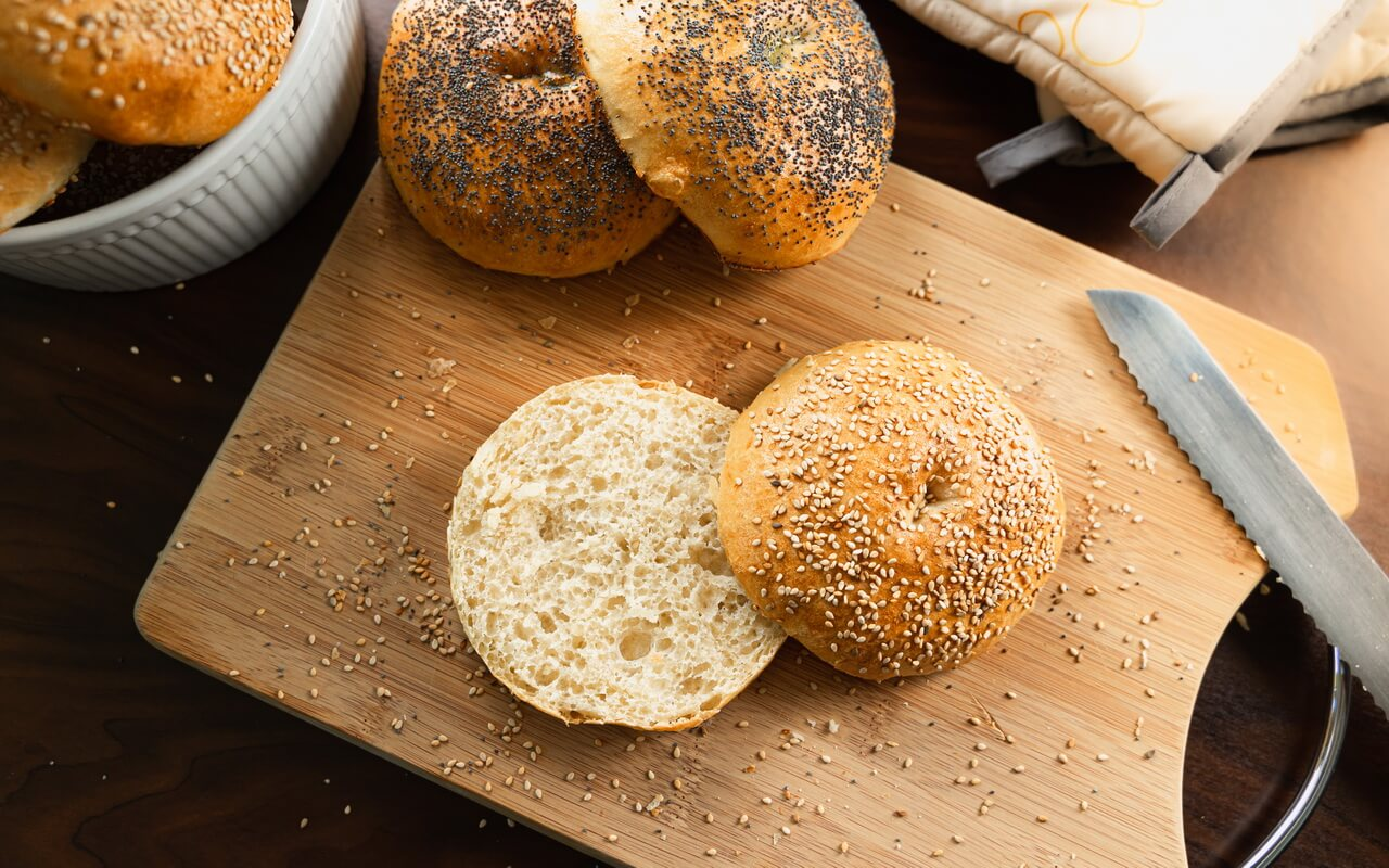 Huge Bread Rolls With Sesame And Poppy Seeds Cut Open Bread Roll