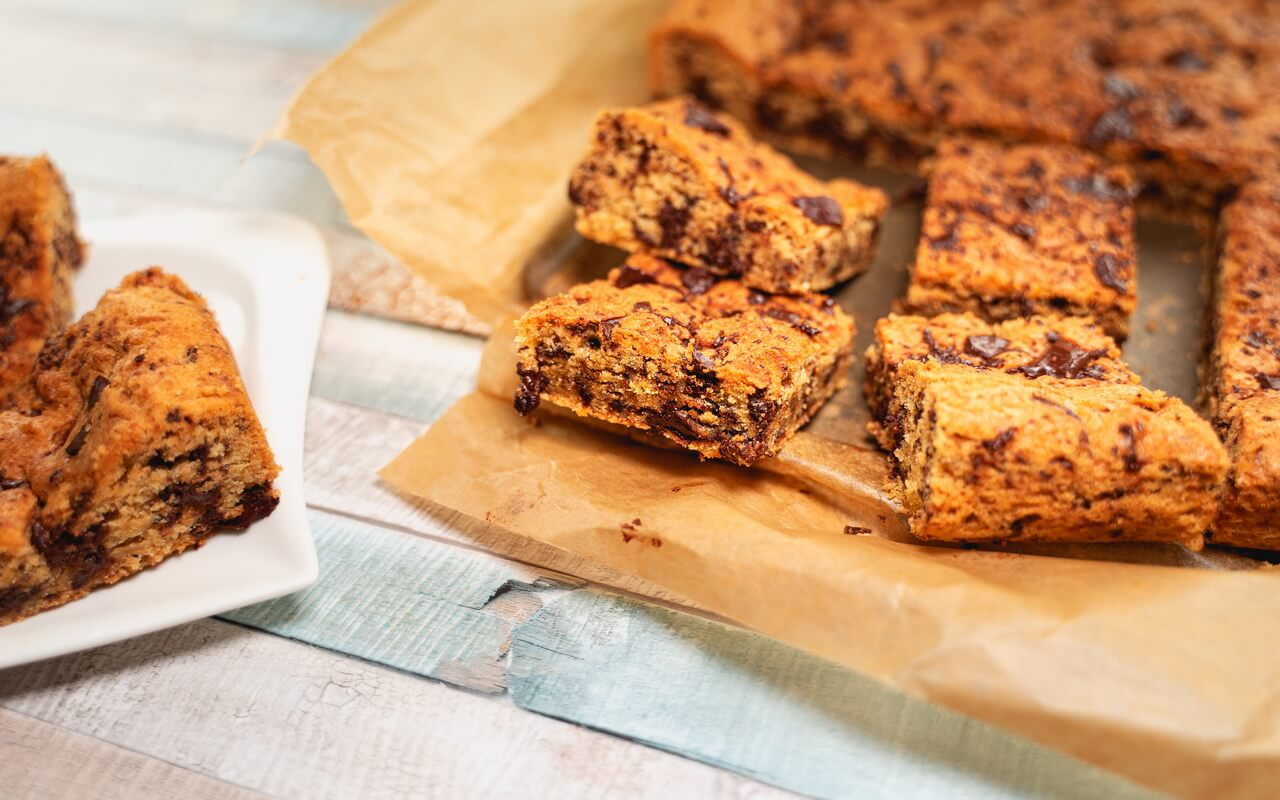 Chewy Chocolate Chip Cookie Bars In Baking Pan