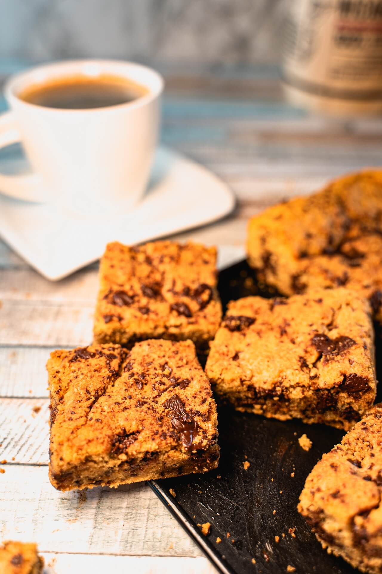 Chewy Chocolate Chip Cookie Bars Vertical View