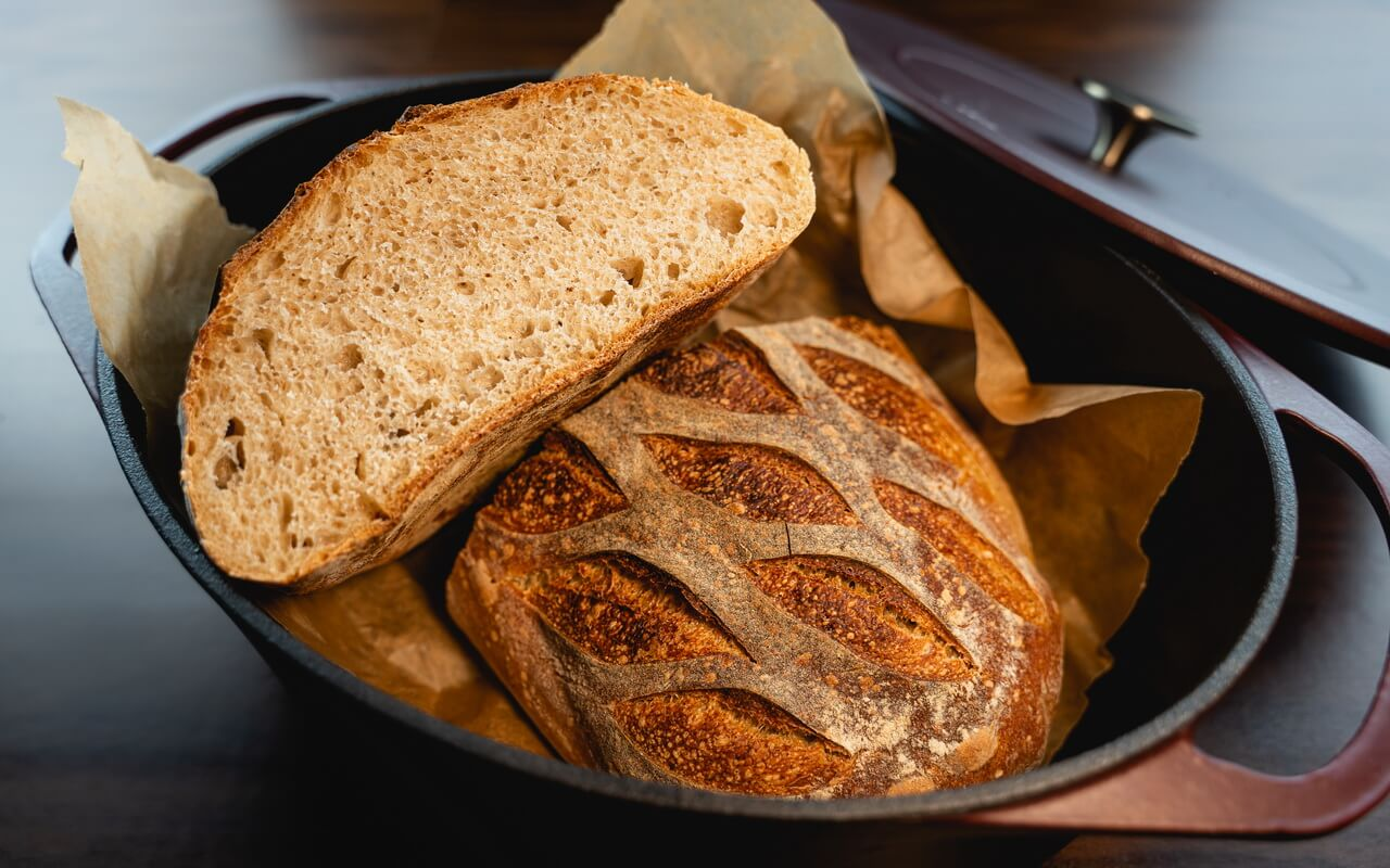White Spelt Flour Sourdough Bread Crumb In Dutch Oven