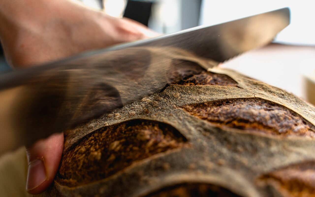 White Spelt Flour Sourdough Bread Cutting In
