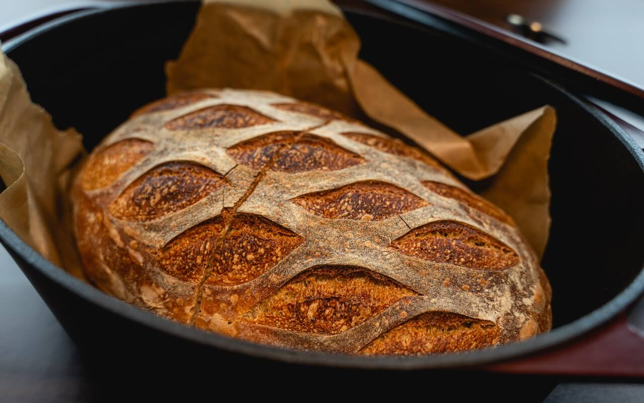 White Spelt Flour Sourdough Bread In Durtch Oven