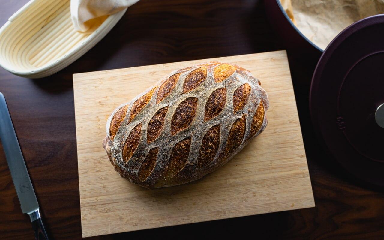 White Spelt Flour Sourdough Bread Top View