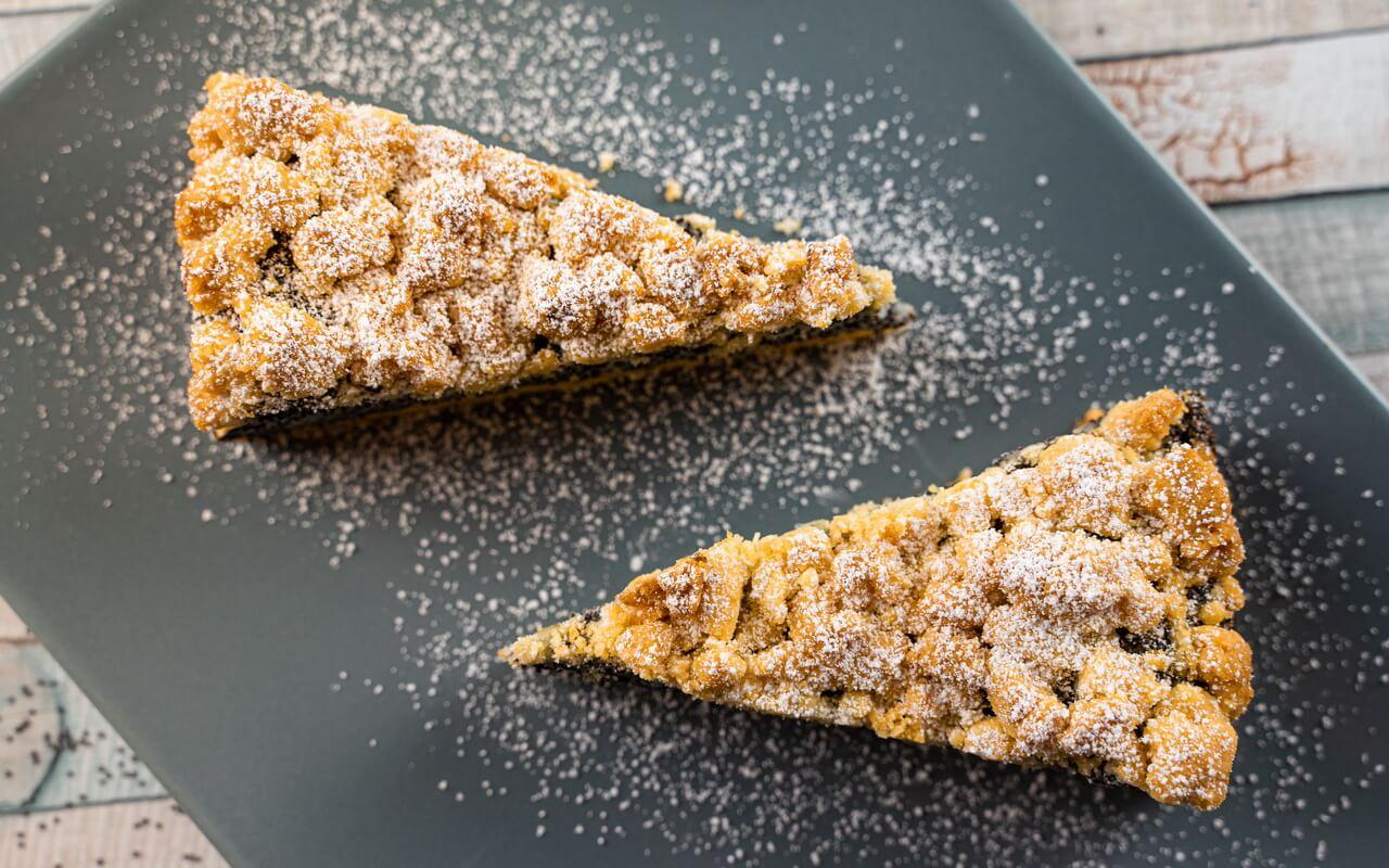 German Poppy Seed Streusel Cake Top View Slices