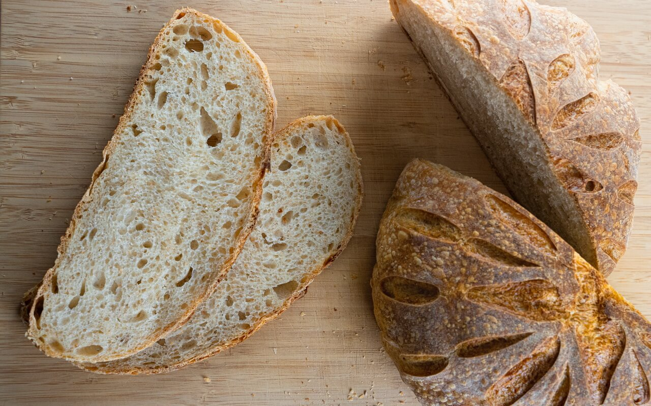 Sourdough Bread With Olive Oil Slices